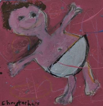 Julian Christophers Original Mixed Media Painting Of A Baby